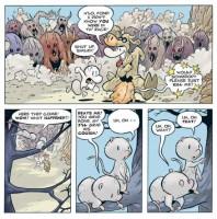 Barevná verze stránky z anglického vydání komiksu Kůstek: Útěk z Kůstkova.