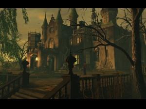 Poeticky vystižené hororové lokace: staré šlechtické sídlo Black Mirror...