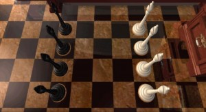Hádanka s šachovými figurkami.