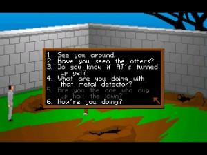 Dialogové okno a pozemek po řádění hledače pokladů (neboli vykradače hrobek) Philipa.