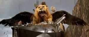 A létající lev se také dostavil.