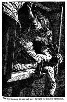 Ilustrace Ernesta Wallcousinse k příběhu Jen hvízdni, chlapče, a já přiběhnu.