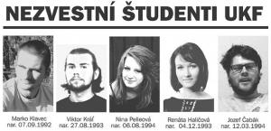 Pětice zmizelých studentů.