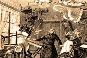 Činnost zlého ducha neboli poltergeista, která se vyznačuje rozhazováním předmětů.
